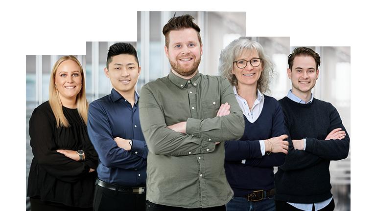 5 ansatte fra Autosource Group byder velkommen